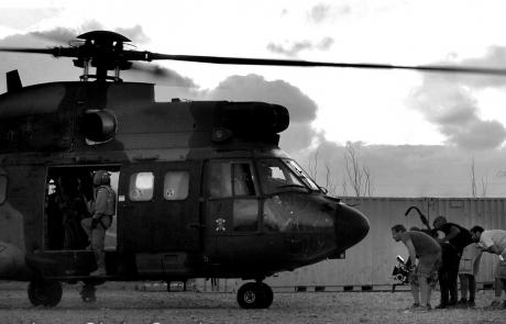 Rodando la salida del helicóptero