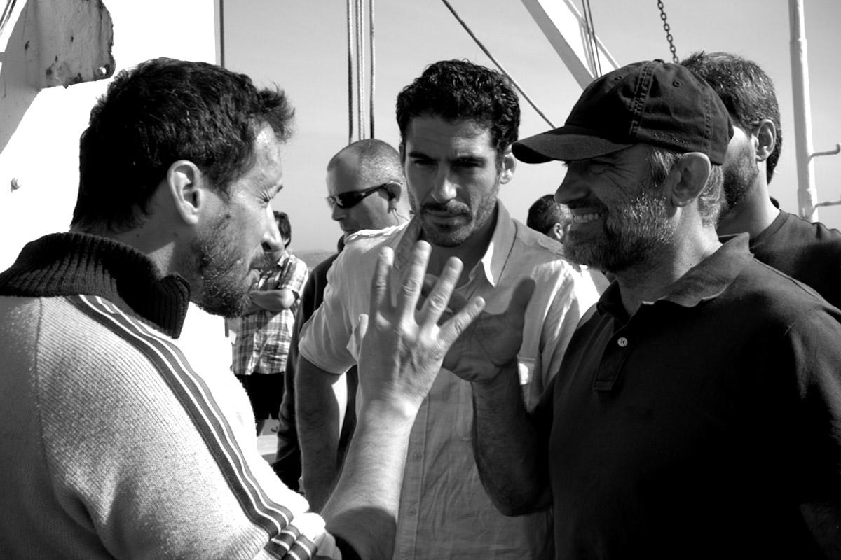 Salvador Calvo con Francesc Orella y Miguel Ángel Silvestre
