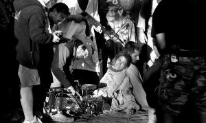 Salvador Calvo rodando con Hugo Silva y Blanca Suárez