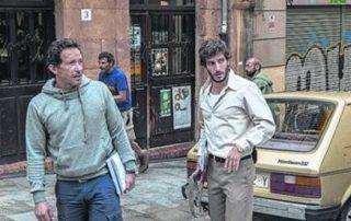 Salvador Calvo junto a Quim Gutiérrez en rodaje